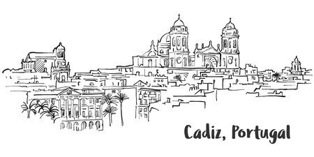 Cadiz Ancient Panorama Artprint, Hand-drawn Vector Outline Sketch