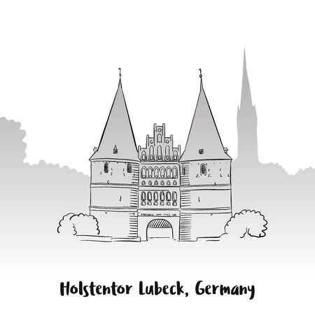 holstein: Holstentor Lubeck Greeting Card, Hand-drawn Vector Outline Sketch Illustration
