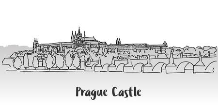 Prager Burg Grußkarte, Handgezeichnete Vektor-Grundriss-Skizze