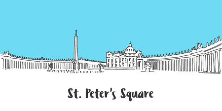 St Peter Square Vatican City, Hand-drawn Vector Outline Sketch