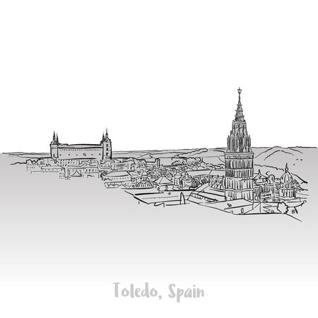 Toledo Ancient Panorama, Hand-drawn Vector Outline Sketch