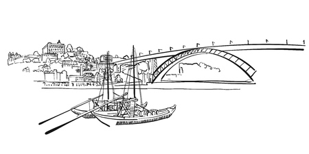 Porto Skyline Panorama Illustration, Hand-drawn Vector Outline Sketch