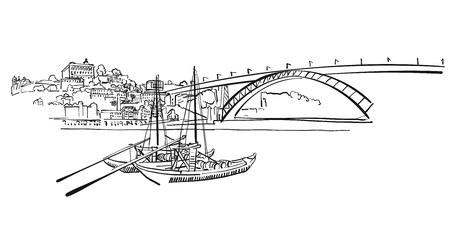 Porto Skyline Panorama Illustration, Hand-drawn Vector Outline Sketch