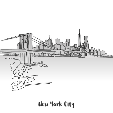 NYC Skyline Greeting Card Design, Hand-drawn Vector Outline Sketch