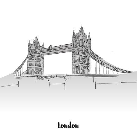london night: London Tower Bridge Greeting Card, Hand-drawn Vector Outline Sketch