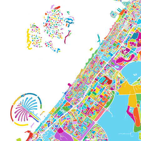 Dubai Colorful Vector Map Illustration