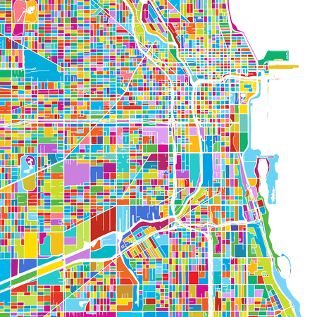 Chicago, USA, Colorful Vector Map, printable outline version, ready for color change, Separated On White