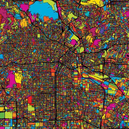 Los Angeles Bunte Vektor-Karte auf schwarz, Kunstdruck. bedruckbare Umrisse Version, bereit für Farbwechsel, Getrennt auf Weiß.
