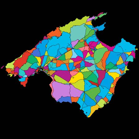 Mallorca Colorful Vector Map on Black, printable outline Version, ready for color change, Separated On White Illustration