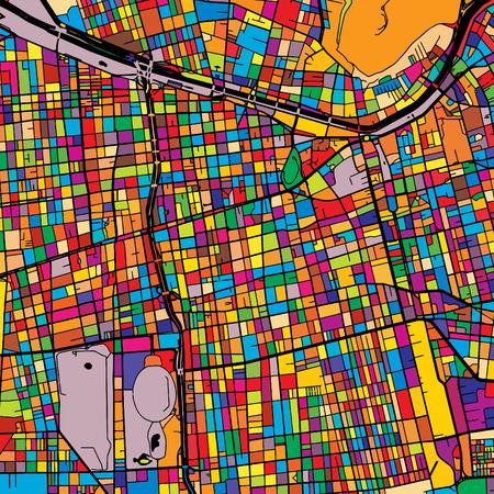 サンティアゴ黒地カラフルな地図、印刷可能な概要版、色の準備を変更、Artprint 写真素材 - 74220787