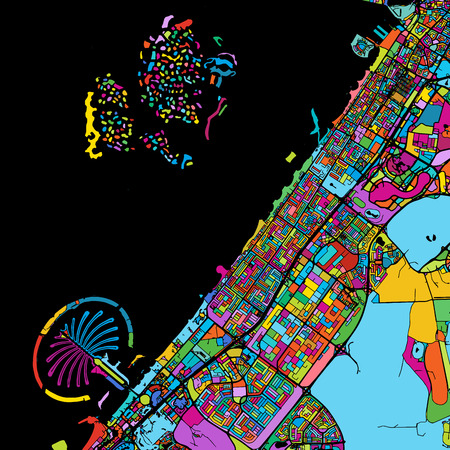 Dubai Colorful Vector Map on Black, printable outline Version, ready for color change, Separated On White