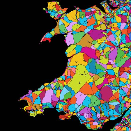 Wales, Great Britain, Colorful Vector Map on Black, printable outline Version, ready for color change, Separated On White