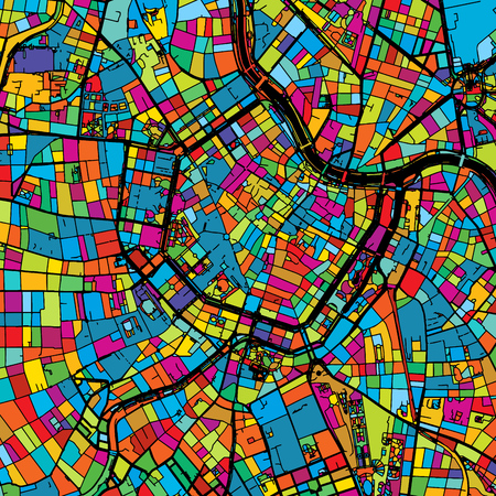 Vienna, Austria, Colorful Vector Map on Black, printable outline Version, ready for color change, Separated On White