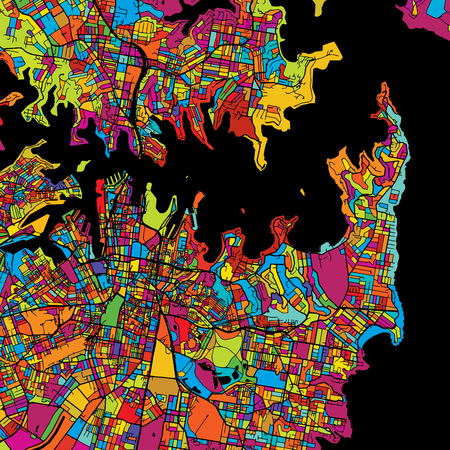 Sydney Colorful Vector Map on Black, Artprint. printable outline Version, ready for color change, Separated On White.