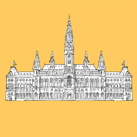 Vienna City Hall Vector Sketch, Hand-drawn Outline Illustration with white Background Shape