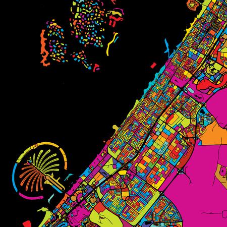 ブラック、Artprint ドバイ カラフルなベクトル地図です。印刷可能な概要版、色の準備ができて変更、白の分離します。  イラスト・ベクター素材
