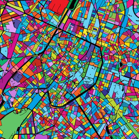Brussels Colorful Vector Map on Black, Artprint. printable outline Version, ready for color change, Separated On White.