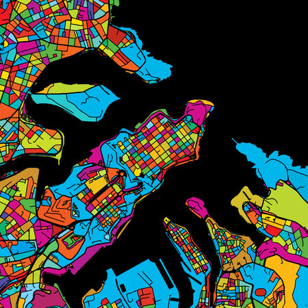 Valetta, Malta, Colorful Vector Map on Black, printable outline Version, ready for color change, Separated On White