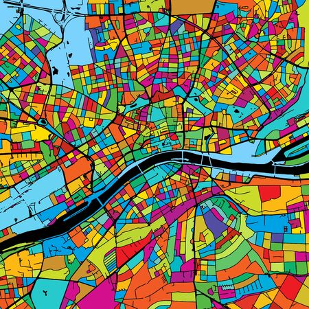 Frankfurt, Germany, Colorful Vector Map on Black, printable outline Version, ready for color change, Separated On White