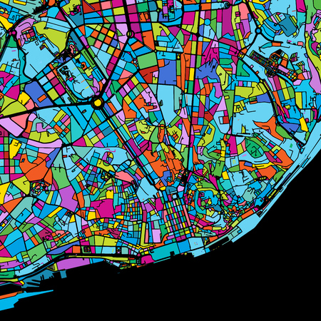 Lisbon Area Colorful Vector Map on Black, Artprint. printable outline Version, ready for color change, Separated On White.