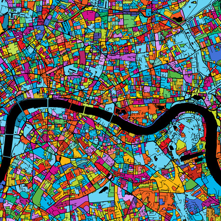 London Colorful Vector Map on Black, printable outline Version, ready for color change, Separated On White