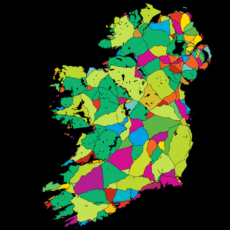 Ireland Colorful Vector Map on Black, printable outline Version, ready for color change, Separated On White
