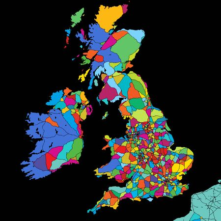 Great Britain Colorful Vector Map on Black, printable outline Version, ready for color change, Separated On White