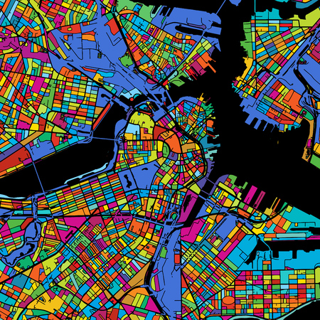 Boston Colorful Vector Map on Black, printable outline Version, ready for color change, Separated On White Illustration