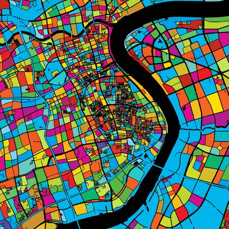 Shanghai, China, Colorful Vector Map on Black, printable outline Version, ready for color change, Separated On White