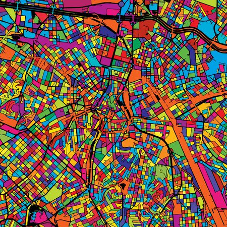 São Paulo Colorful Map on Black, printable outline Version, ready for color change, Artprint