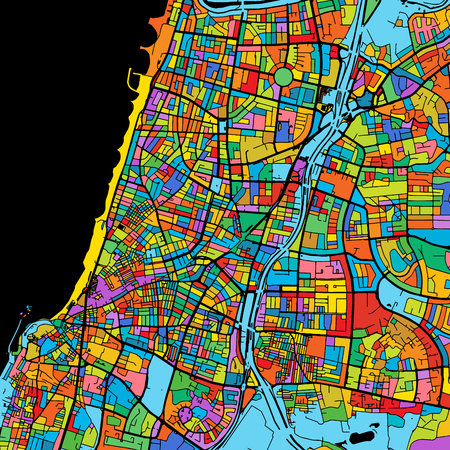 Tel Aviv-Yafo Colorful Vector Map on Black, Artprint. printable outline Version, ready for color change, Separated On White.