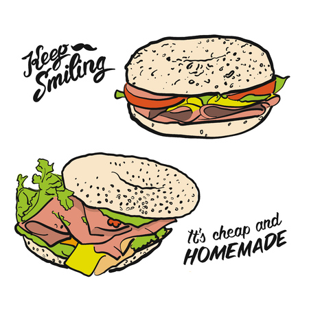 Colored Bagel Sandwich with handdrawn Type, Vector Artsketch Illustration whith calligraphic lettering phrases