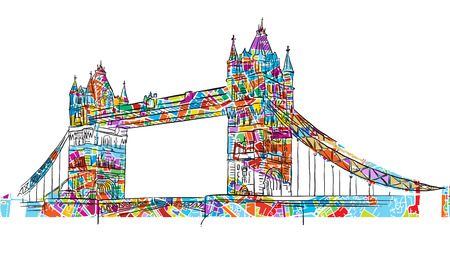 drawbridge: Colored London Tower Bridge Symbol, hand-drawn Outline Vector Illustration with colored background