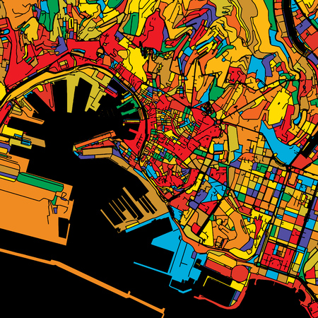 Genoa Colorful Vector Map on Black, Artprint. printable outline Version, ready for color change, Separated On White.