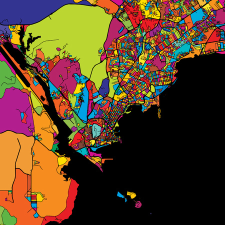 Panama City Colorful Map on Black, printable outline Version, ready for color change, Artprint