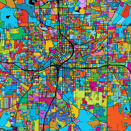 Atlanta Colorful Vector Map on Black, Artprint. printable outline Version, ready for color change, Separated On White. Illustration
