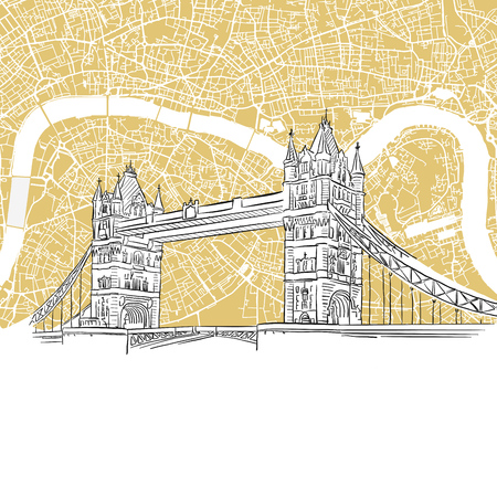 london tower bridge: London Tower Bridge with Colored Map, Hand-drawn Outline Illustration with vector City Map Background