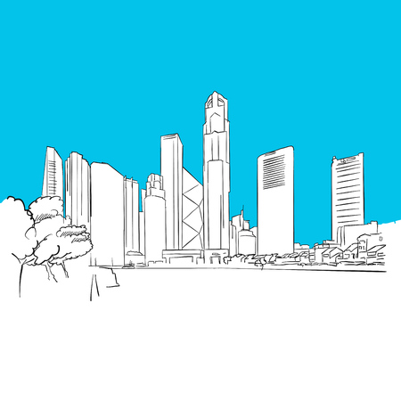 Singapore Republic Plaza Vector Sketch, hand-drawn outline Illustration  イラスト・ベクター素材