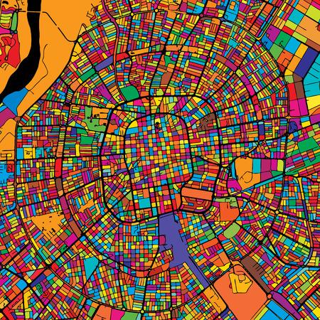 Santa Cruz de la Sierra Colorful Map on Black, printable outline Version, ready for color change, Artprint