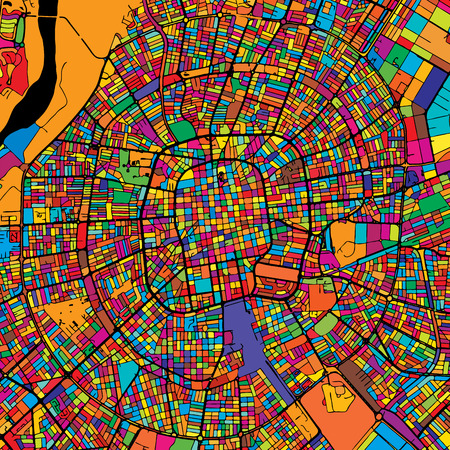 Santa Cruz de la Sierra Colorful Map on Black, printable outline Version, ready for color change, Artprint