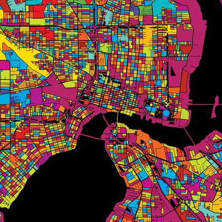 Jacksonville Colorful Vector Map on Black, Artprint. printable outline Version, ready for color change, Separated On White.