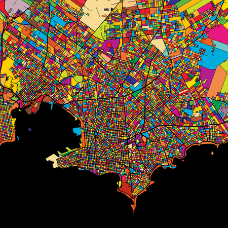 Montevideo Colorful Map on Black, printable outline Version, ready for color change, Artprint