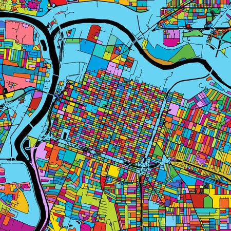 Sacramento, California, Colorful Vector Map on Black, Artprint. printable outline Version, ready for color change, Separated On White.