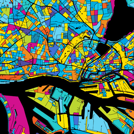 Hamburg Colorful Vector Map on Black, Artprint. printable outline Version, ready for color change, Separated On White.