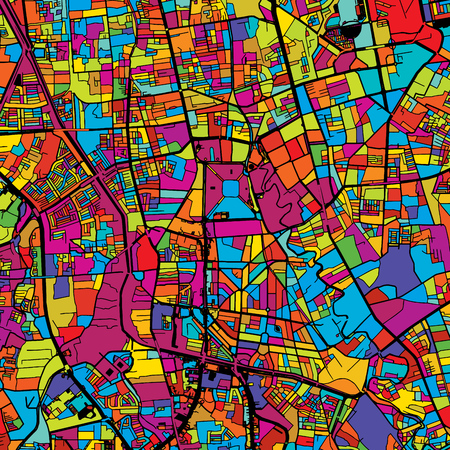 Jakarta Colorful Vector Map on Black, Artprint. printable outline Version, ready for color change, Separated On White.