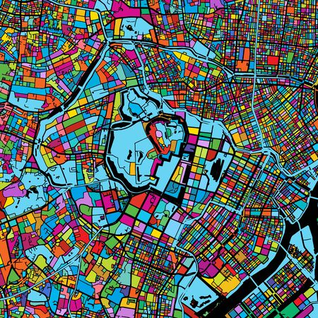 Tokyo, Japan, Colorful Vector Map on Black, printable outline Version, ready for color change, Separated On White