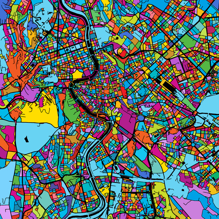 Rome, Italy, Colorful Vector Map on Black, printable outline Version, ready for color change, Separated On White