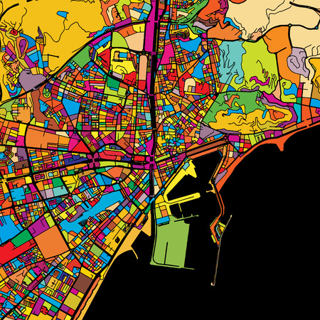 Malaga Colorful Vector Map on Black, Artprint. printable outline Version, ready for color change, Separated On White.