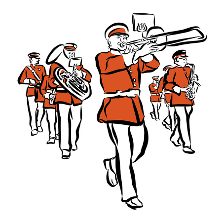 Red Colored Marching Band Illustration, hand-drawn vector Outline sketch witch Background Shape