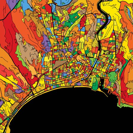 Nice Colorful Vector Map on Black, Artprint. printable outline Version, ready for color change, Separated On White.